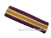 Purple Gold Yellow with white line basketball headband pro
