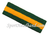 Dark Green Gold Yellow Dark green stripe terry sport headband