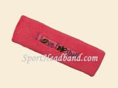 Bright Pink custom terry headbands sports sweat