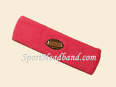 Bright Pink Football Logo Customize Sport Terry Headband