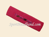 Hot Pink custom terry headbands sports sweat