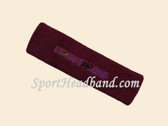 Maroon custom terry headbands sports sweat