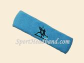 Sky Blue custom sport sweat headbands terry