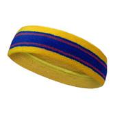Yellow, Blue with 2 Purple lines basketball headband pro