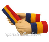 Blue Gold Yellow Red sports sweat headband 4inch wristbands set