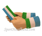 Bright Green White Sky Blue sports headband 4inch wristbands set