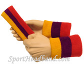 "Gold Yellow Purple Red sports sweat headband 4"" wristbands set"