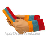 Gold Yellow Sky Blue Red sports headband 4inch wristbands set