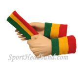 Green Yellow Red sports sweat headband 4inch wristbands set