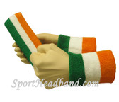 "Light Orange White Green sports sweat headband 4"" wristbands set"