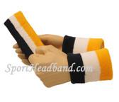 """Navy White Yellow sports sweat headband 4"""" wristbands set"""