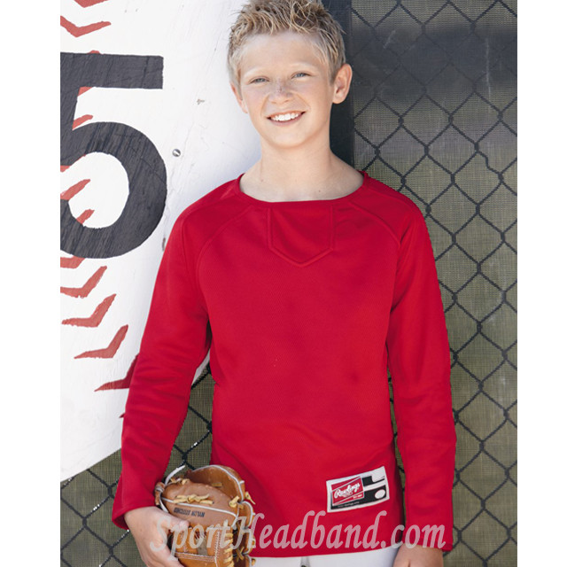 Youth Active Sports Long Sleeve Flatback Mesh Fleece Pullover Rawlings