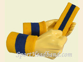 Gold Yellow Blue 2 Colored sports sweat headband wristbands Set