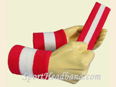 Red White Red sports sweat headband wristbands Set