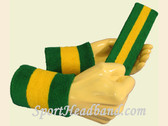 Green Yellow Green sports sweat headband wristbands Set
