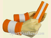Orange White Orange sports sweat headband wristbands Set