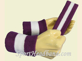 Purple White Purple sports sweat headband wristbands Set