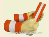 Dark Orange White 2 Colored sports sweat headband wristbands Set