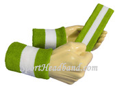 Lime Green White Lime Green sports sweat headband wristbands Set