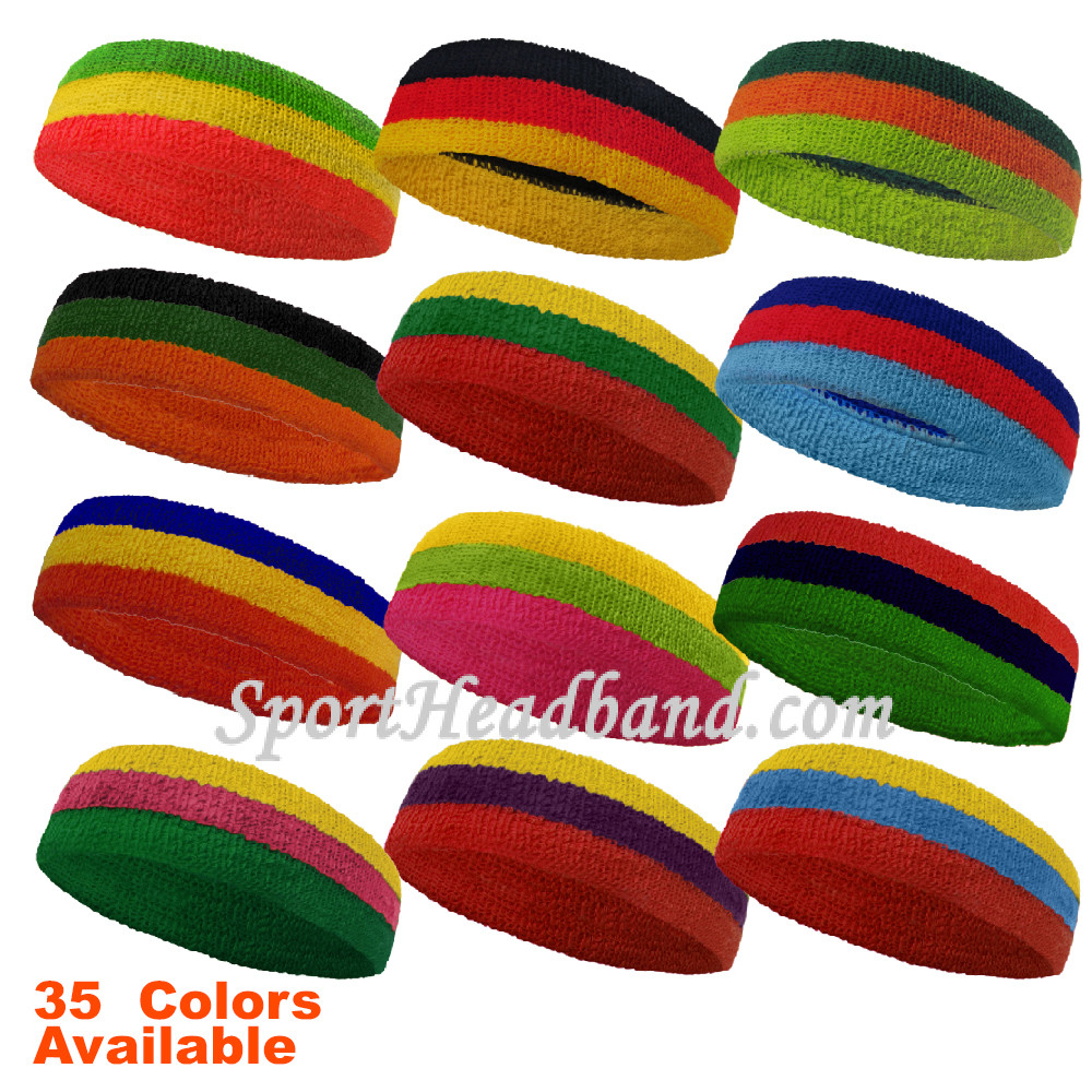 Couver Blue Golden-Yellow Red Striped Headband Wristband Set