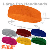 Large Plain Terry Cloth Sport Sweat Headband Pro(Many Colors)