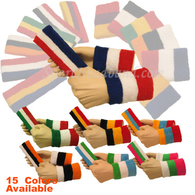 3 colored Sports/Athletic Head, Wrist Sweatbands Sets for Adult