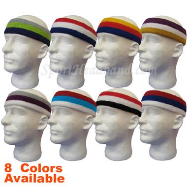 3 Stripes Large Pro Basketball Sweat Headband Terry Cloth