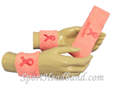 COUVER Premium Quality Pink Ribbon Breast Cancer Awareness Sweatbands(1 Headband + 2 Wristbands), Light Pink Ribbon Find a Cure