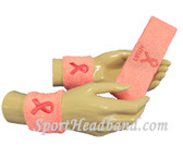 COUVER Premium Quality Pink Ribbon Breast Cancer Awareness Sweatbands(1 Headband + 2 Wristbands), Light Pink Ribbon FAITH