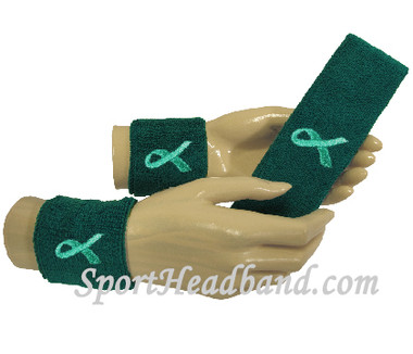 COUVER Premium Youth Wrist Sweatband - Teal/Ribbon Cotton Terry Colth Support Ovarian Cancer Awareness