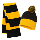 Couver Rugby Striped Knit Beanie Scarf Set for Men POM POM Skull Cap & Scarves