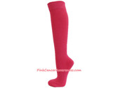 Bright Pink Cancer awareness Athletic Knee Socks