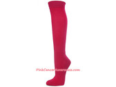 Hot Pink Cancer awareness Athletic Knee Socks
