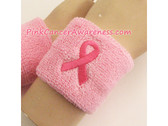 Ribbon Breast Cancer Logo Symbol Sports Wrist Band, 1PC