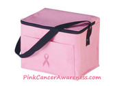 Pink Cancer awareness Cooler Bag with Pink Ribbon