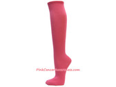Bright Pink Cancer awareness Knee Socks
