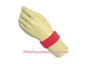 Hot Pink Cancer awareness Kids 1inch Terry Wrist Band, 1PC