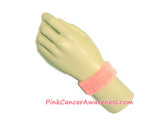 Light Pink Cancer awareness Kids 1inch Terry Wrist Band, 1PC