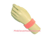 Pink Cancer awareness Kids 1inch Terry Wrist Band, 1PC