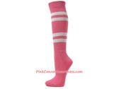Pink Cancer awareness Athletic Sports Knee Socks