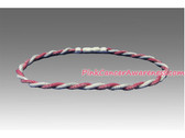 Dark Pink and White Titanium Double Power Necklace
