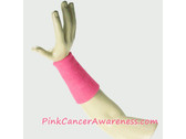 Bright Pink Cancer Awareness 6inch Long Sports Wrist Band, 1PC