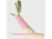 Light Pink Cancer Awareness 6inch Long Sports Wrist Band, 1PC