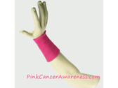 Hot Pink Cancer Awareness 6inch Long Sports Wrist Band, 1PC