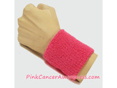 Bright Pink Cancer Awareness 3 inch Cheap Wristband, 1PC