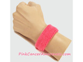 1inch Bright Pink Sports Wrist Band for Cancer Awareness, 1PIECE