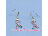 Pink Ribbon Awareness Earrings with Crystals, Nickel Lead Free