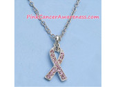 Pink Ribbon Awareness Necklace with Crystals, Nickel Lead Free