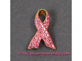 Pink Ribbon Awareness Brooch with Crystals