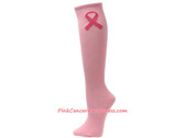 Light Pink Ribbon Logo Cancer awareness Knee High Socks